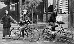 The two American cyclists reach north China in 1892. Few Chinese had ever seen a Westerner, much less a bicycle.