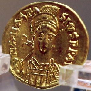 Gold coin found in the tomb of Emperor Jiemin of Northern Wei and minted during the reign of Anastasius I of the Byzantine Empire.