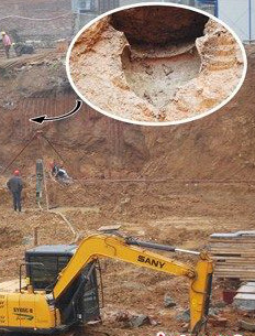 Construction site in Hunan Province where Tang, Song and Yuan dynasty coins were unearthed