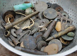 Old coins and ammunition dug up from the riverbed
