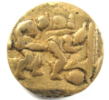 Chinese erotic coin or charm showing a man and woman engaged in sexual activity