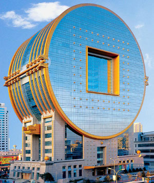 Building shaped like Chinese cash coins