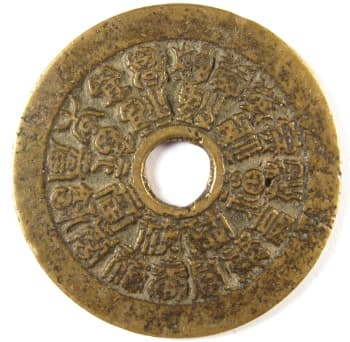 "Chinese charm             with 24 ""good fortune"" characters on obverse side"