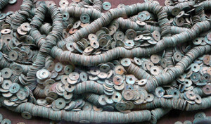 "Some of more than 40,000 Tang dynasty ""kai yuan tong bao"" coins excavated from the Grand Canal in 2004"