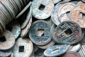 "Close-up of ""kai yuan tong bao"" coins dug up from the Grand Canal in 2004"