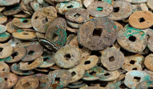 Song dynasty coins recovered from the Grand Canal on display at the Zhongce Accounting Museum in Hangzhou