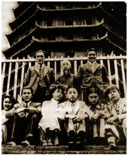 "1936 wedding                                 photograph of Jiang Qing (""Lan                                 Ping"") at the Six Harmonies Pagoda                                 in Hangzhou"
