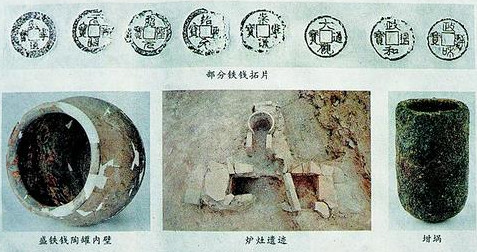 Rubbings of the Northern Song coins. The earthenware vessel that contained the coins.  A furnace and crucible unearthed at the ruins.