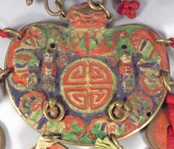 "Korean charm with ""Longevity"" symbol, two children and five bats"