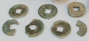 Some of the more than fifty huo quan coins recovered from the tomb