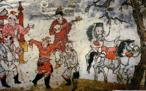 Tang Dynasty tomb painting of Huren dancing and playing musical instruments