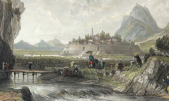 "Illustration (detail) from               ""Cotton Plantations in Ning-po"" by Thomas Allom"