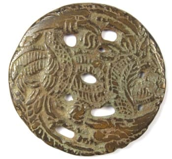 Old Chinese open work charm showing two phoenix