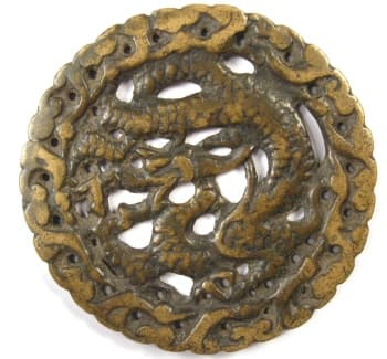 Chinese open work charm with one dragon