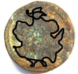 "Outline of guard             on reverse side of Chinese Chess (xiangqi) ""shi""             piece"