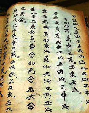 "The ancient 'Shui Shu"" pictographic script resembles the symbols used on oracle bones"