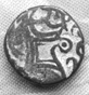 Ancient Kushan coin with image of ox or cow