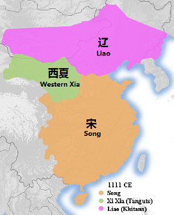 Map showing the the location of Western Xia, Song and Liao
