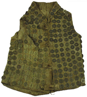 Tlingit body armor covered with old Chinese coins