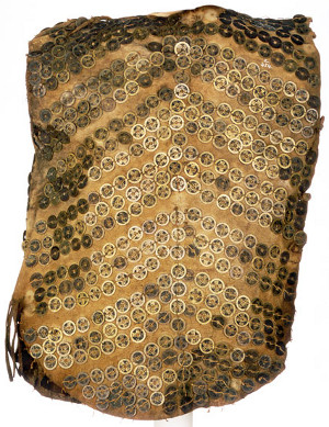 Tlingit body armor with Chinese coins in chevron pattern