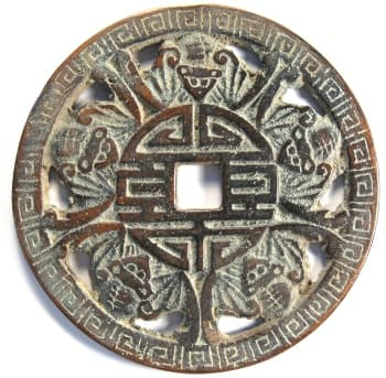 "Chinese charm displaying five bats representing ""five fortunes surround longevity"" (wu fu peng shou)"