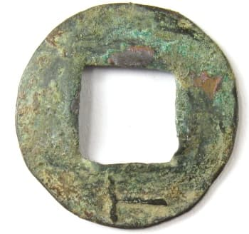 "Wu zhu with               rod numeral (number) ""six"" on reverse below               square hole"