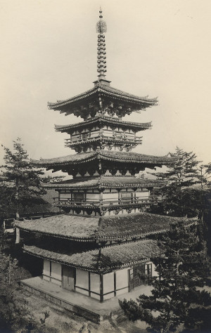 The East Pagoda of the Yakushi-ji Temple as seen in an old photograph
