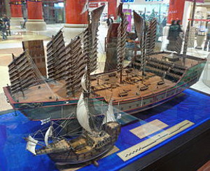 Comparative size of the ships of Zheng He and Christopher Columbus