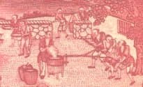 Detail from a               Farmers Bank of China banknote showing farmers grinding               grain