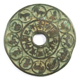 Ancient                 Chinese charm with 12 Animals of the Chinese Zodiac